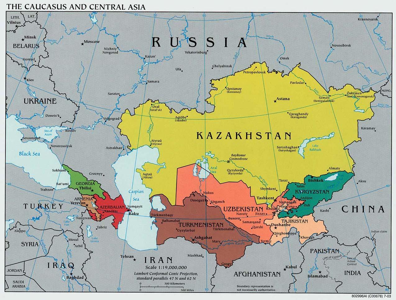 Landkarte Kaukasus-Zentralasien (Übersichtskarte ...