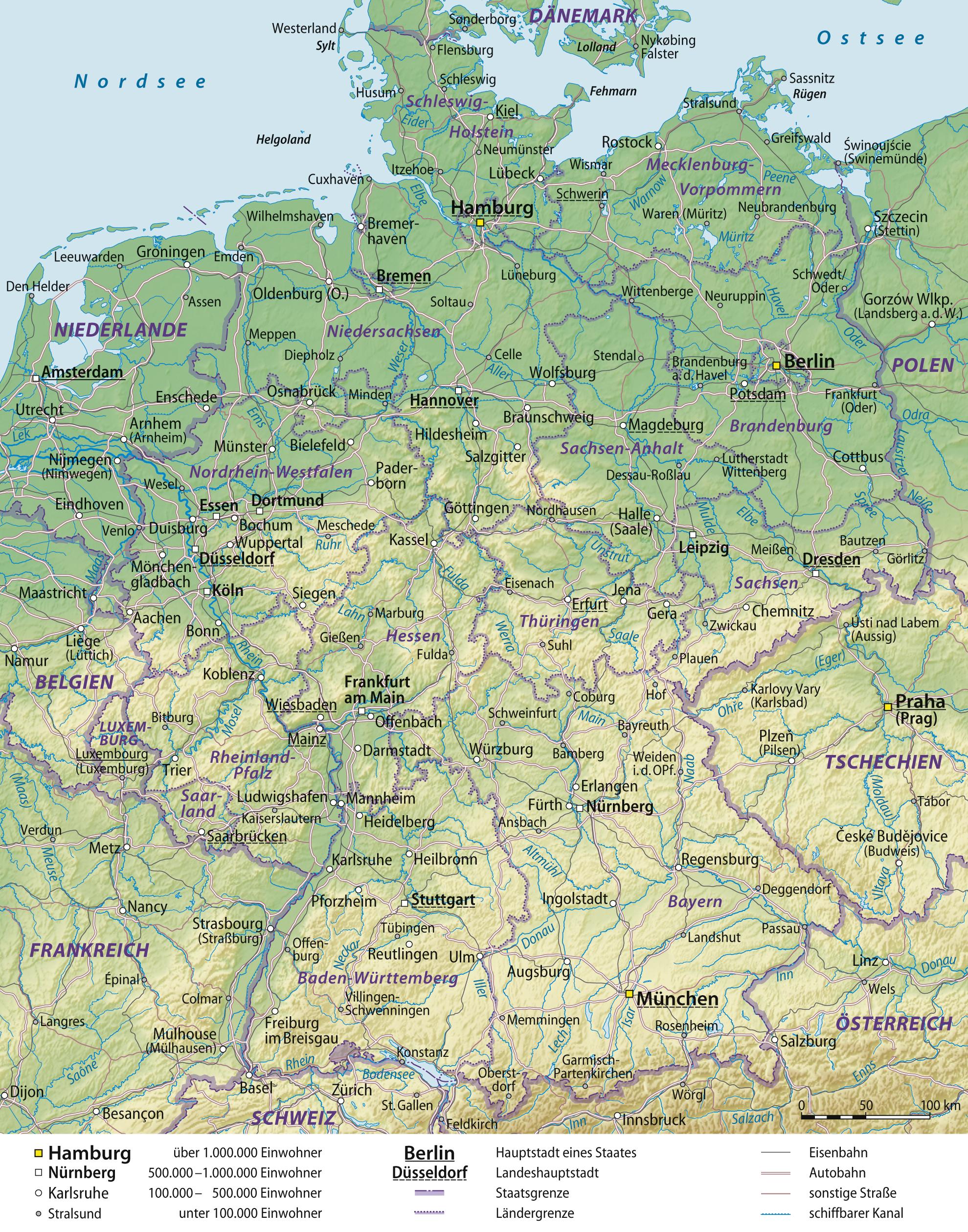 landkarte deutschland grosse bersichtskarte karten und stadtpl ne der welt. Black Bedroom Furniture Sets. Home Design Ideas