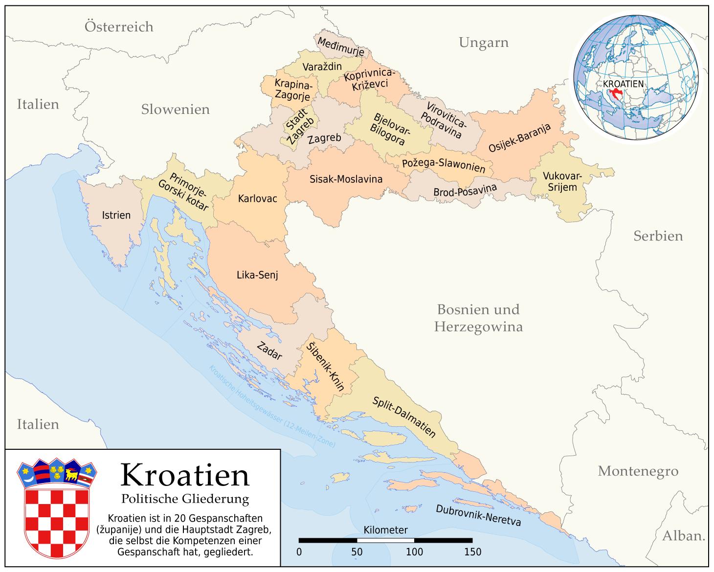 landkarte kroatien verwaltungsbezirke karten und stadtpl ne der welt. Black Bedroom Furniture Sets. Home Design Ideas