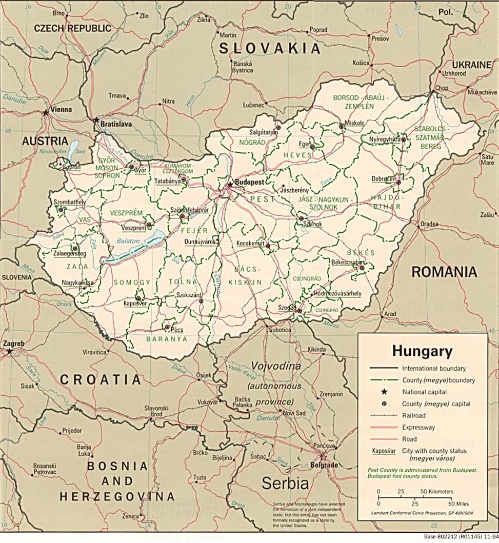 landkarte ungarn politische karte. Black Bedroom Furniture Sets. Home Design Ideas