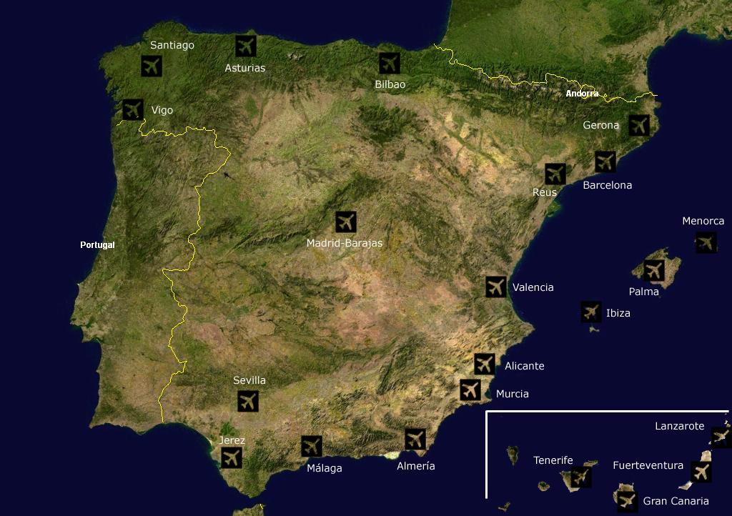 landkarte spanien karte der flugh fen karten und stadtpl ne der welt. Black Bedroom Furniture Sets. Home Design Ideas