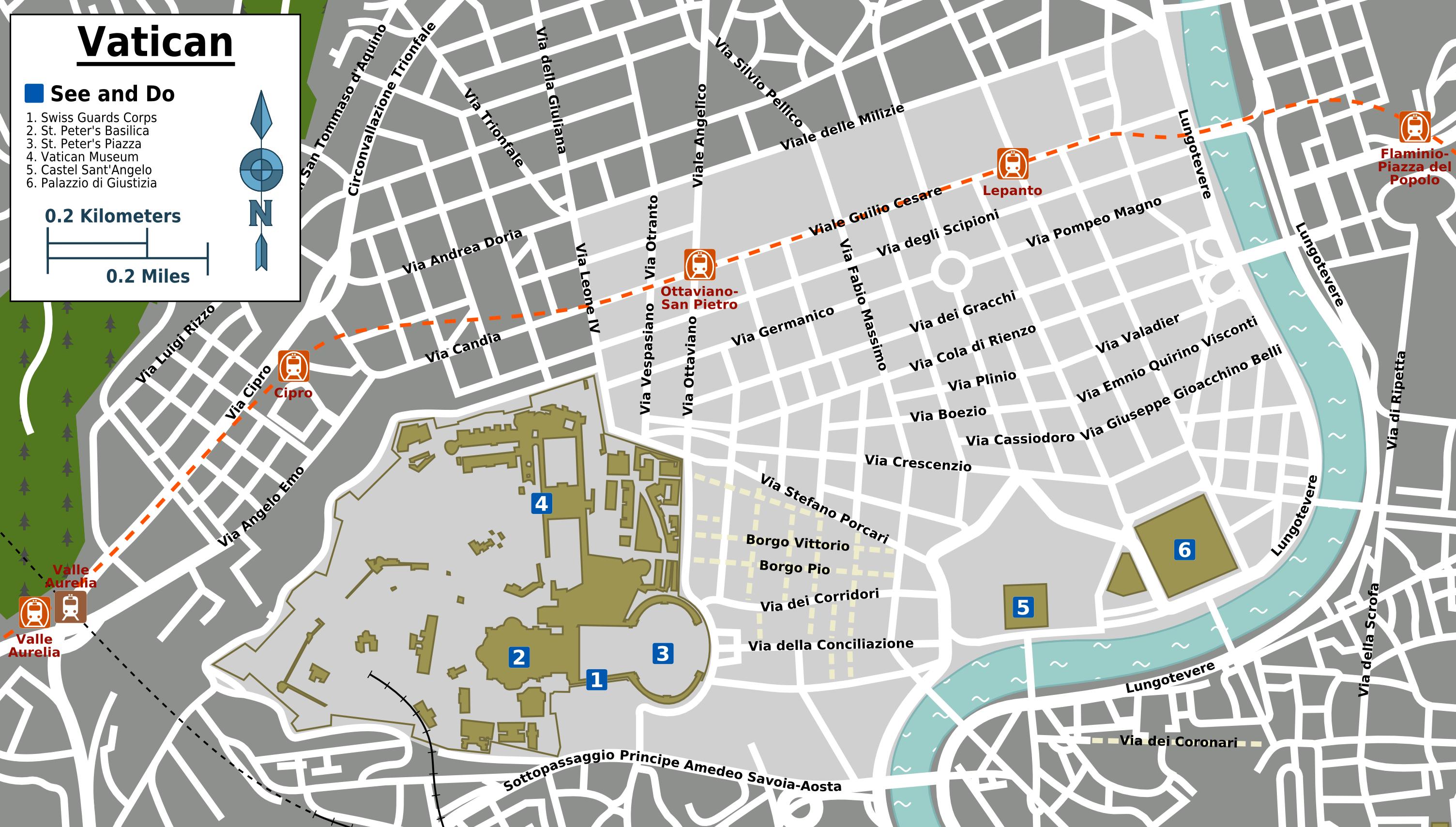Landkarte Vatikan Stadt Touristische Karte Weltkarte