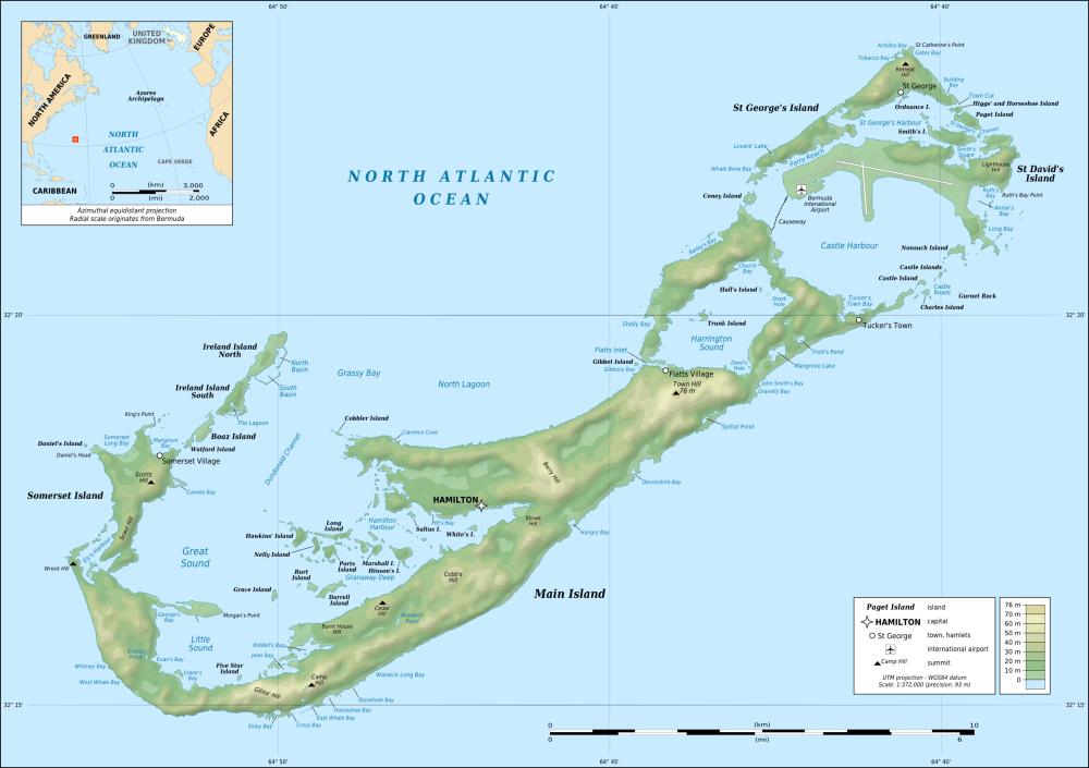 Karibik Karte Welt.Karte Der Bermuda Inseln Topographische Karte Weltkarte Com