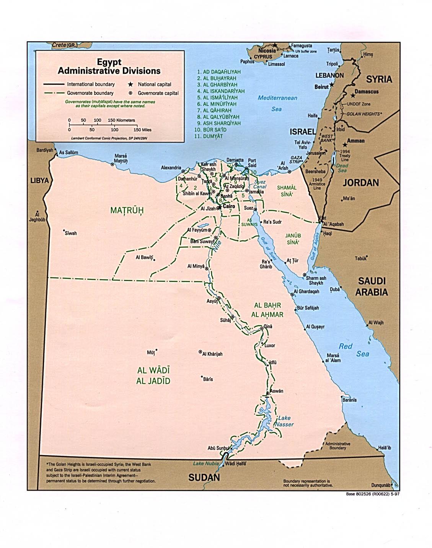 Karte Ägypten administrative Regionen