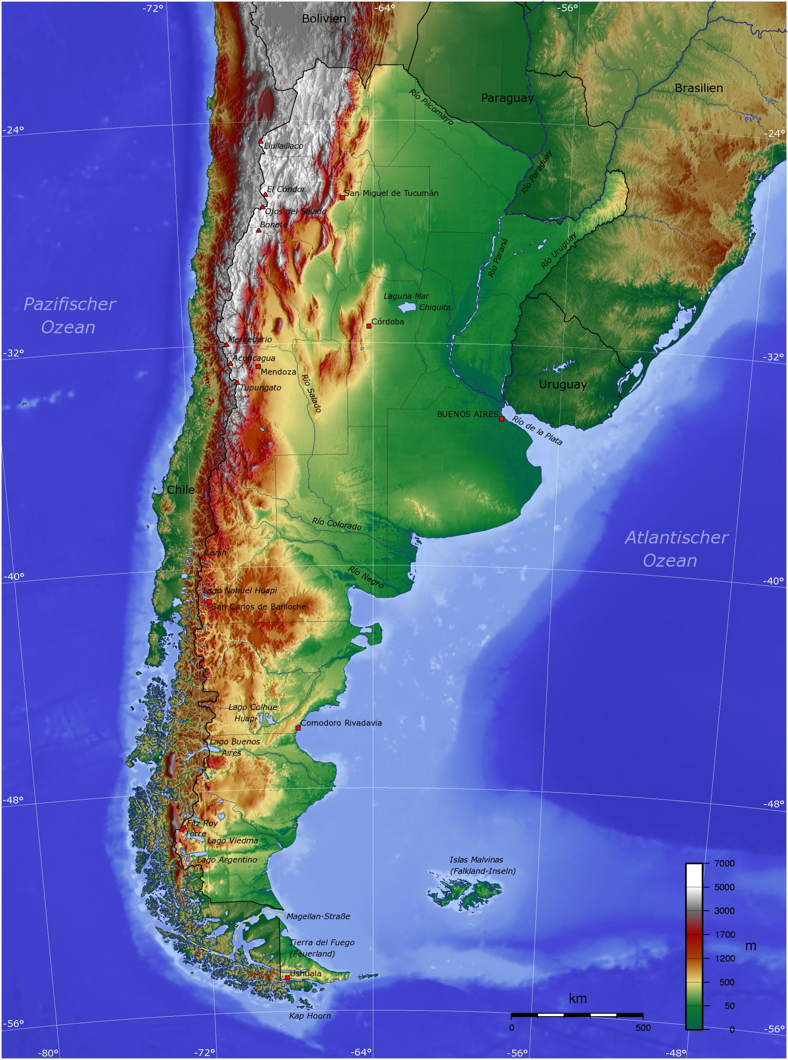 argentinien landkarte Landkarte Argentinien (Topographische Karte) : Weltkarte. argentinien landkarte