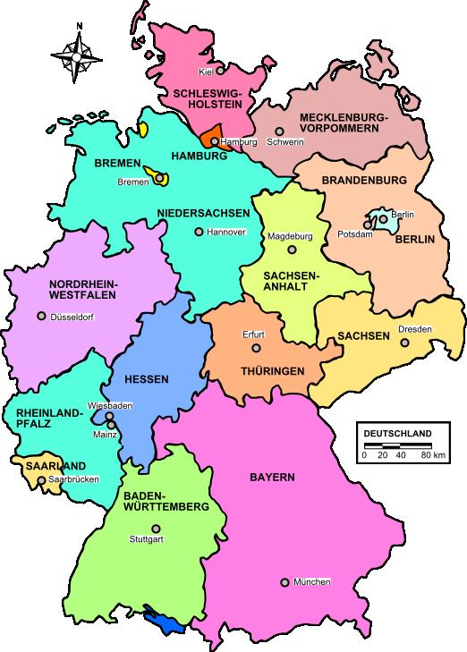landkarte deutschland politische karte bundesl nder karten und stadtpl ne. Black Bedroom Furniture Sets. Home Design Ideas