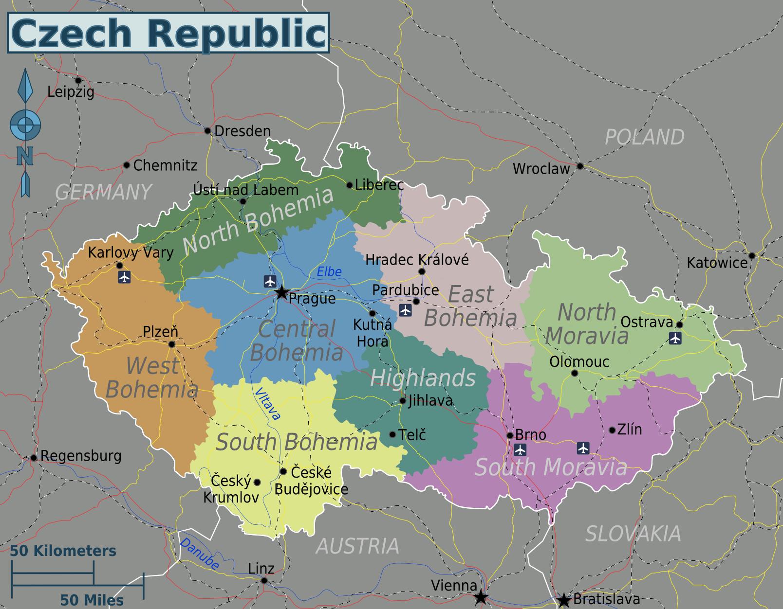 Karte Tschechien.Landkarte Tschechische Republik Regionen Weltkarte Com Karten