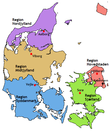 dänemark karte regionen Landkarte Dänemark (Regionen Dänemarks) : Weltkarte.  Karten