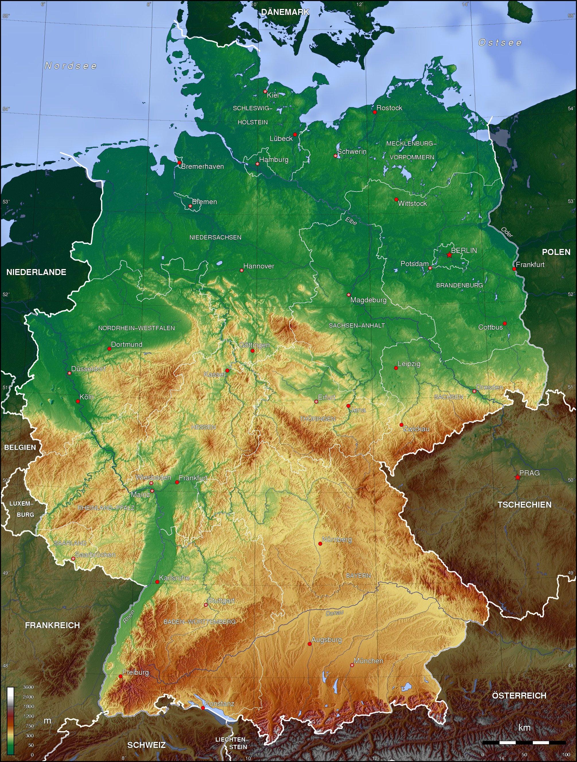 Landkarte Deutschland Topographische Karte Weltkarte Com