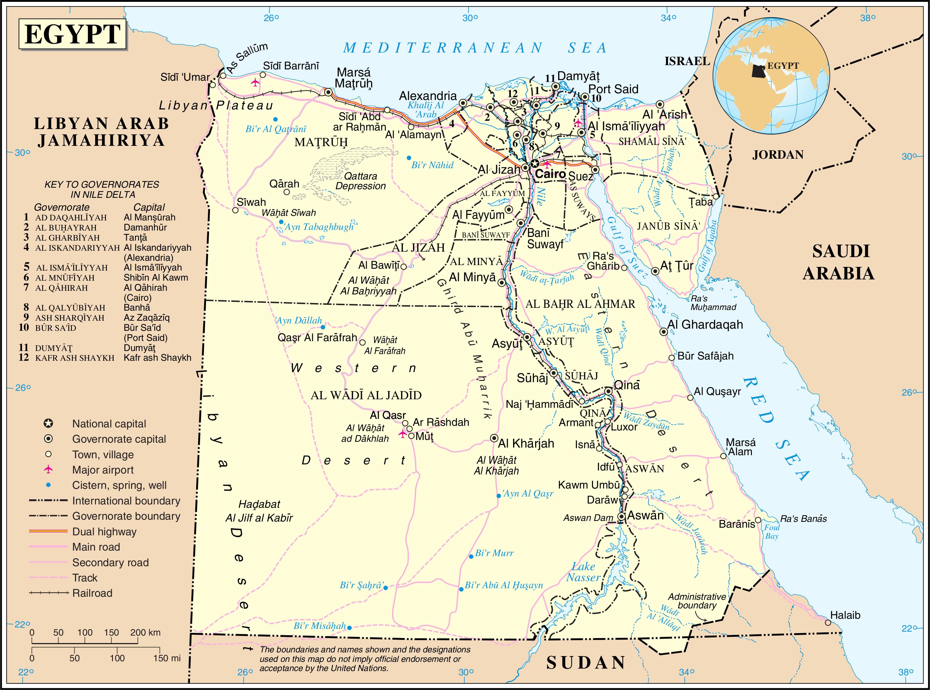 Karte Von ägypten.Landkarte ägypten Politische Karte Weltkarte Com Karten Und