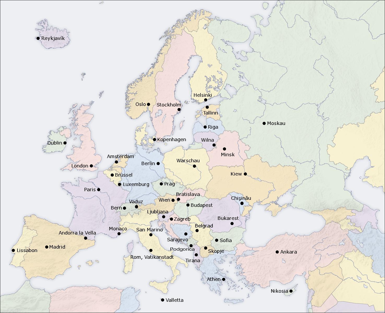 Großartig Weltkarte Mit Städten Galerie Von Europakarte (politische Karte / Hauptstädte)