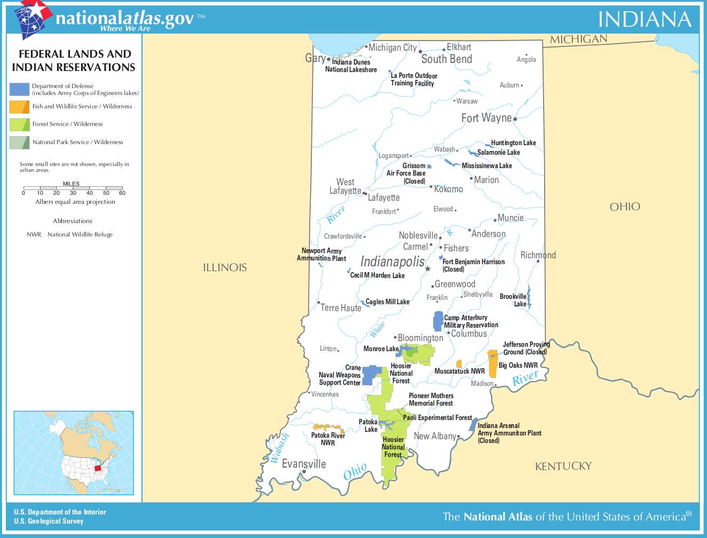Indianerstamme Nordamerikas Karte.Landkarte Indiana Karte Parks Und Indianerreservate