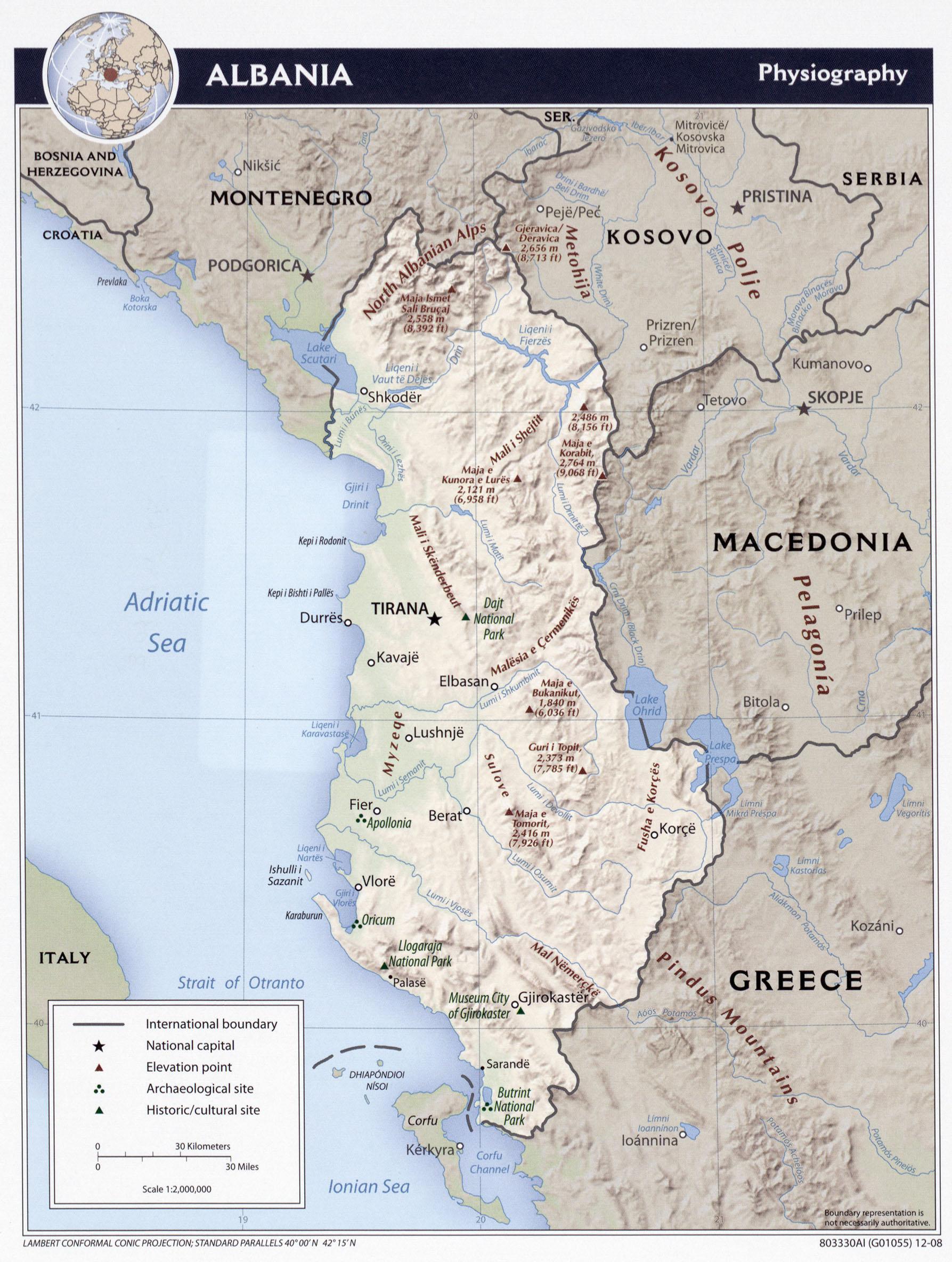 Karte Albanien.Landkarte Albanien Reliefkarte Gross Weltkarte Com Karten Und