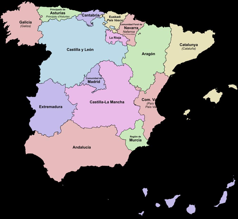 Landkarte Spanien (Karte Autonome Gemeinschaften) : Weltkarte.com ...