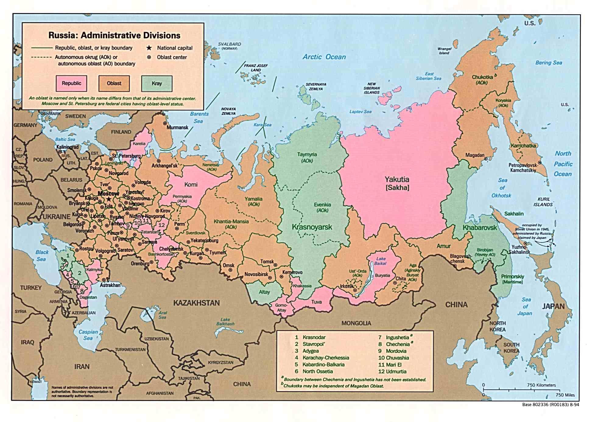 Karte Russland.Landkarte Russland Administrative Bezirke Weltkarte Com
