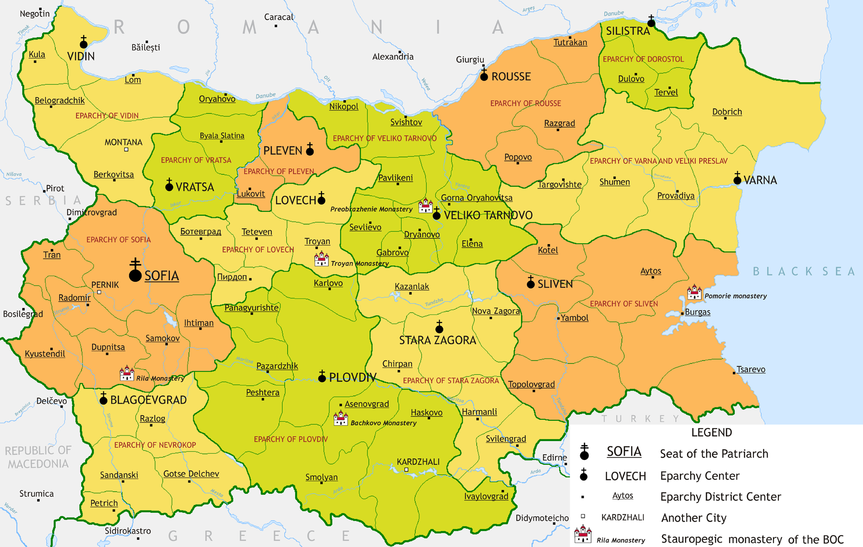 Karte Bulgarien.Landkarte Bulgarien Karte Bezirke Der Orthodoxen Kirche
