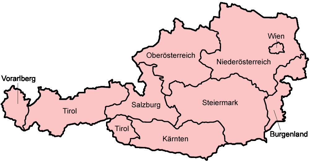 Karte Bundesländer.Landkarte Oesterreich Karte Bundesländer Weltkarte Com Karten