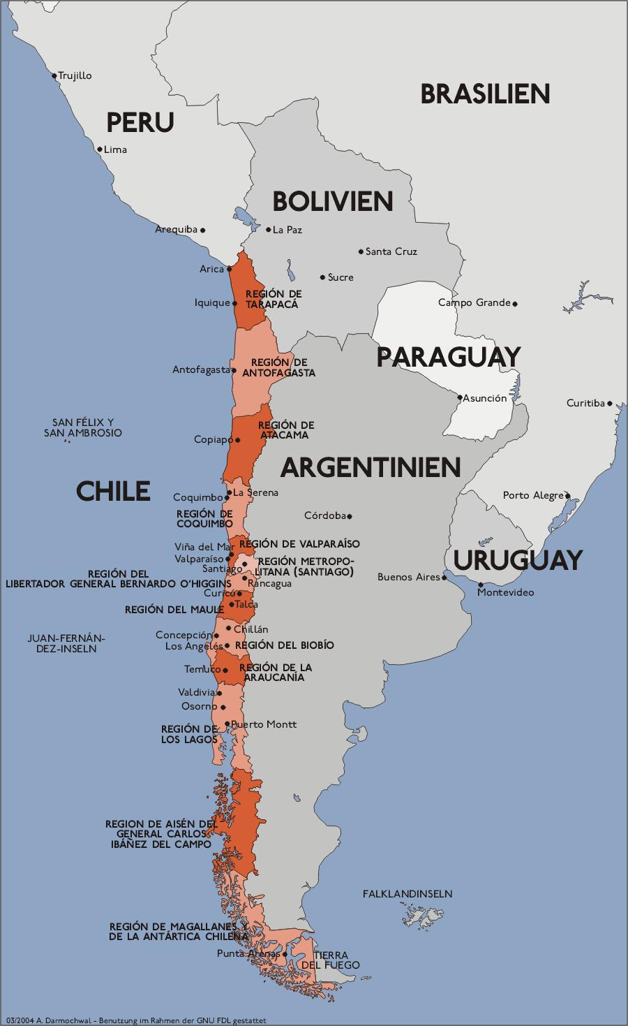 Landkarte Chile (Regionen von Chile) : Weltkarte.com - Karten und ...