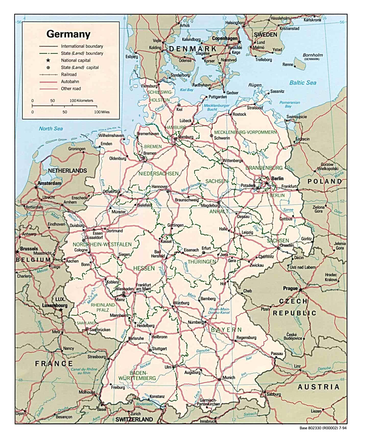 landkarte deutschland politische karte karten und stadtpl ne der welt. Black Bedroom Furniture Sets. Home Design Ideas