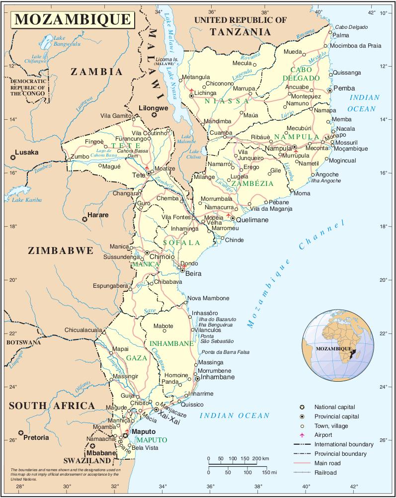 Mosambik Karte.Landkarte Mosambik Karte Distrikte Weltkarte Com Karten Und