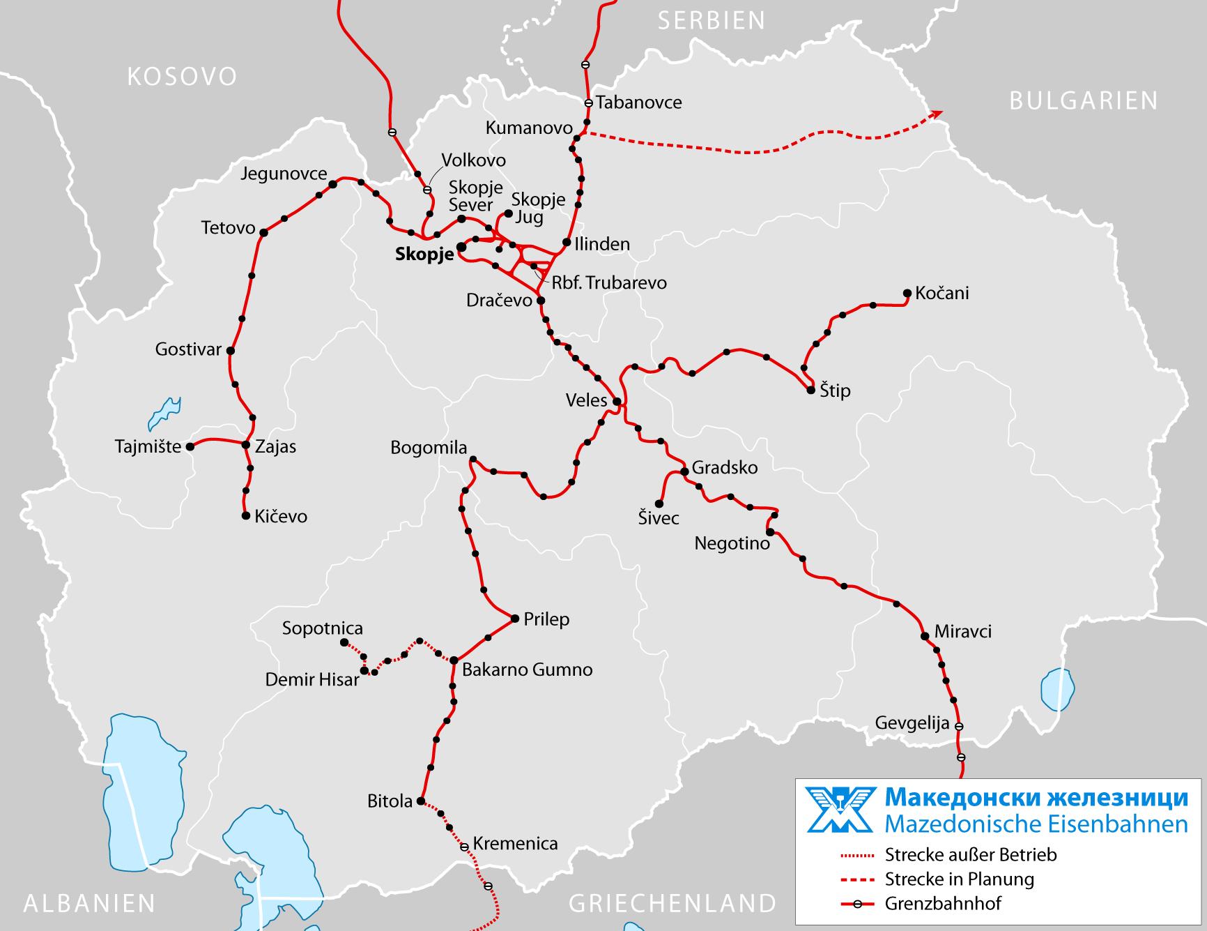 Mazedonien Karte.Landkarte Mazedonien Karte Eisenbahnnetz Weltkarte Com Karten