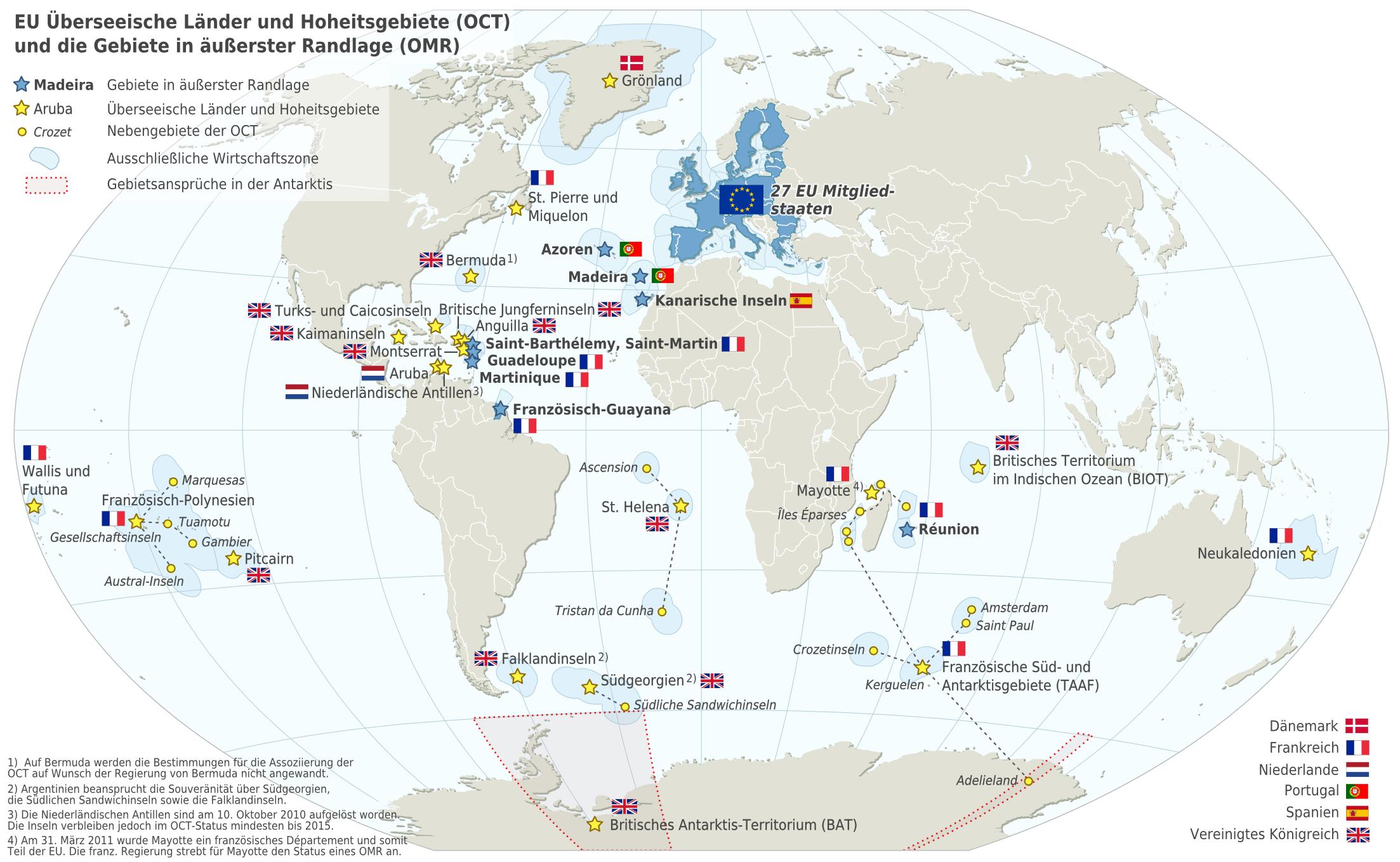 Karte Europäische Union (Karte Überseegebiete der EU ...