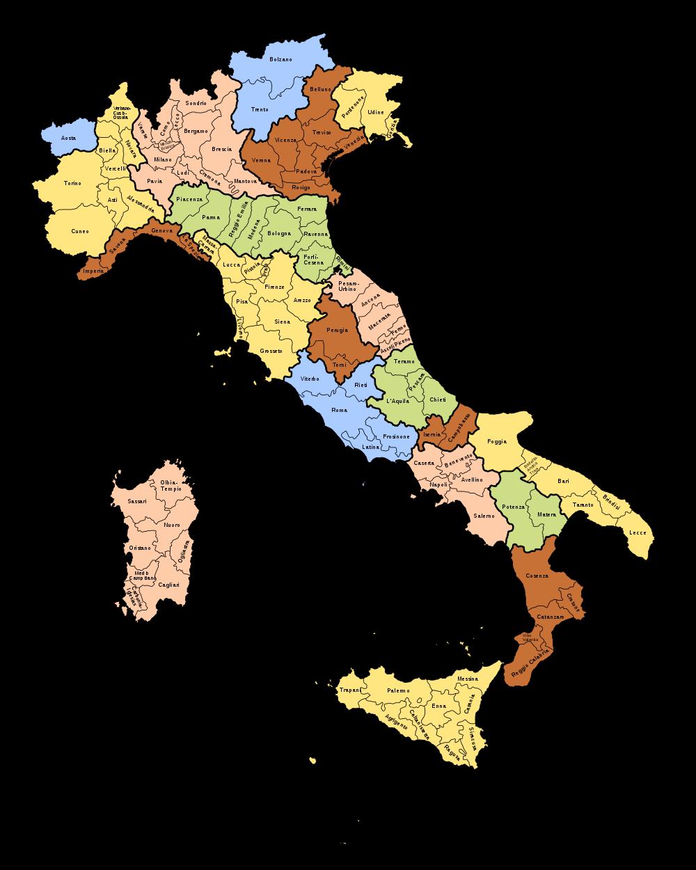 italien karte mit provinzen Landkarte Italien (Provinzen) : Weltkarte.  Karten und