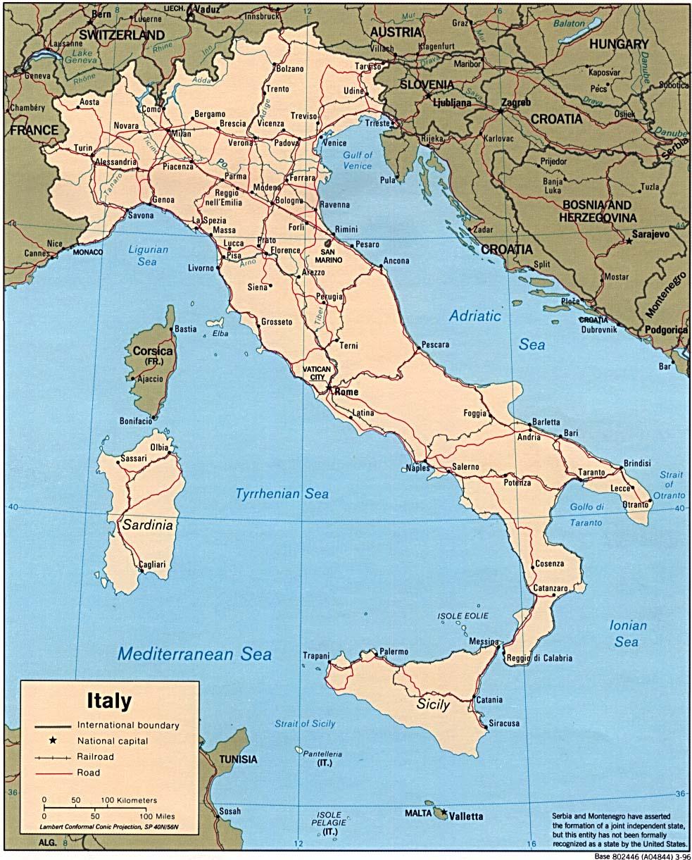landkarte italien politische karte karten und stadtpl ne der welt. Black Bedroom Furniture Sets. Home Design Ideas