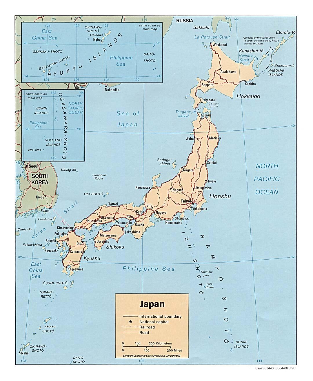 Japan Karte Physisch.Landkarte Japan Politische Karte Weltkarte Com Karten