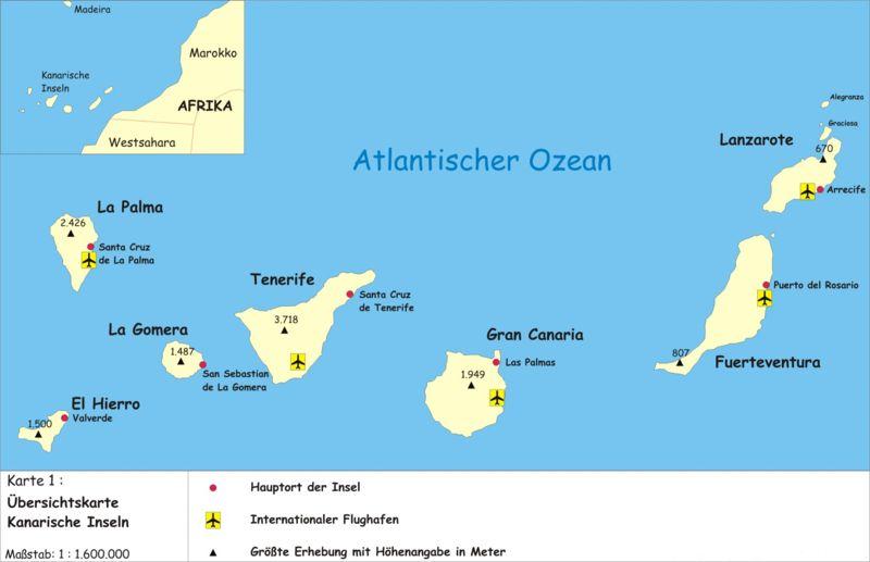 Karte Der Kanarischen Inseln Ubersichtskarte Weltkarte Com