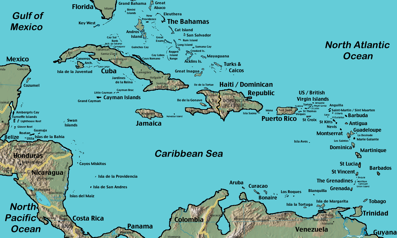 Karibik Karte Welt.Karte Der Karibik Reliefkarte Weltkarte Com Karten Und
