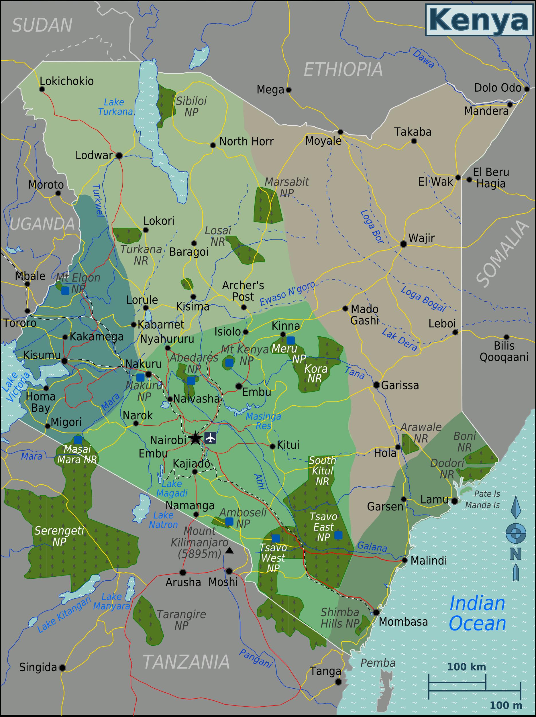 kenia karte Landkarte Kenia (Karte Regionen) : Weltkarte.  Karten und  kenia karte