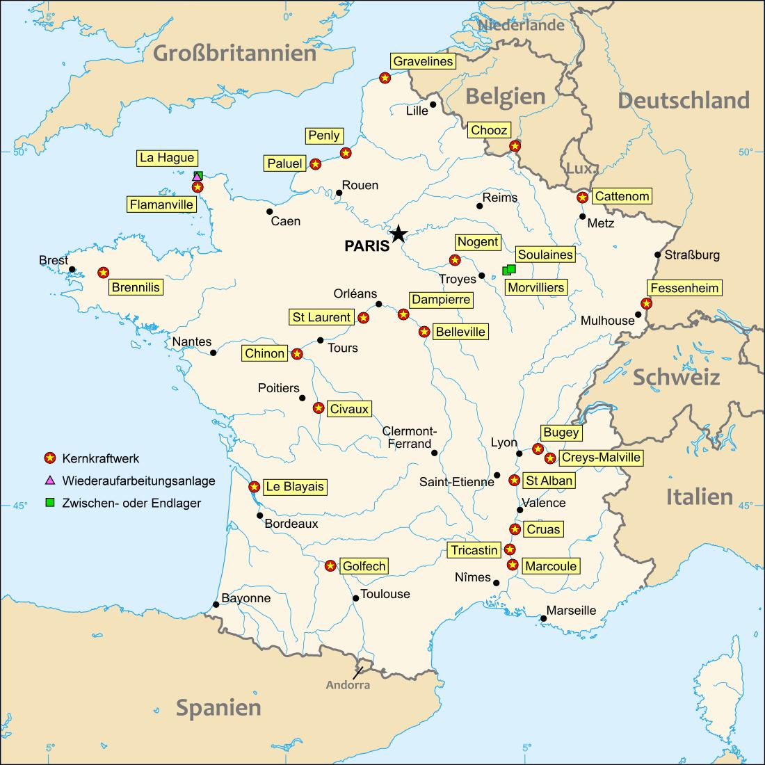 Landkarte Frankreich (Kernkraftwerke in Frankreich) : Weltkarte ... - Atomkraftwerke In Deutschland Karte
