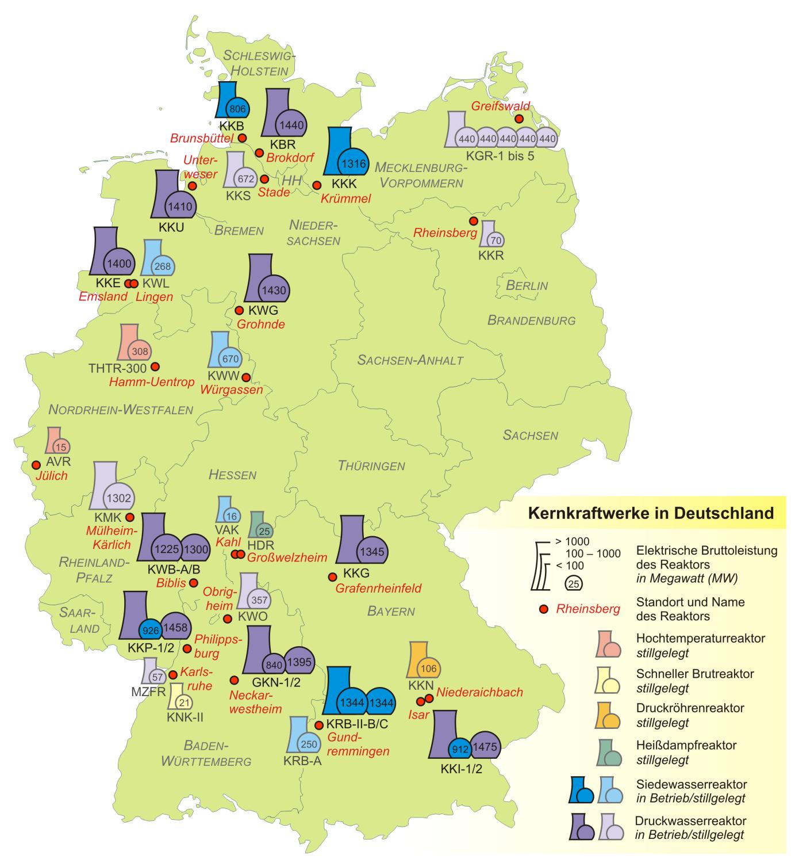 landkarte deutschland kernkraftwerke in deutschland karten und stadtpl ne. Black Bedroom Furniture Sets. Home Design Ideas