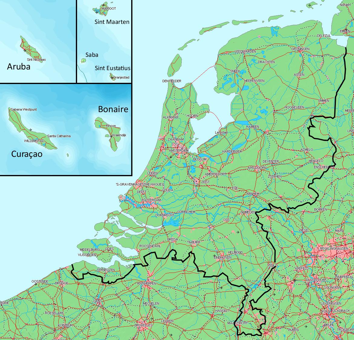 Karte Von Holland Landkarte Niederlande.Landkarte Niederlande übersichtskarte Weltkarte Com Karten Und