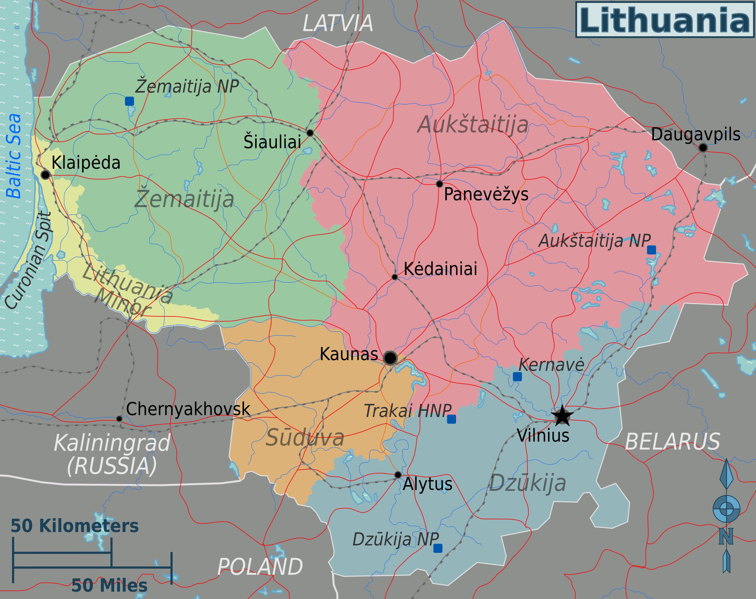litauen karte Landkarte Litauen (Karte Regionen) : Weltkarte.  Karten und