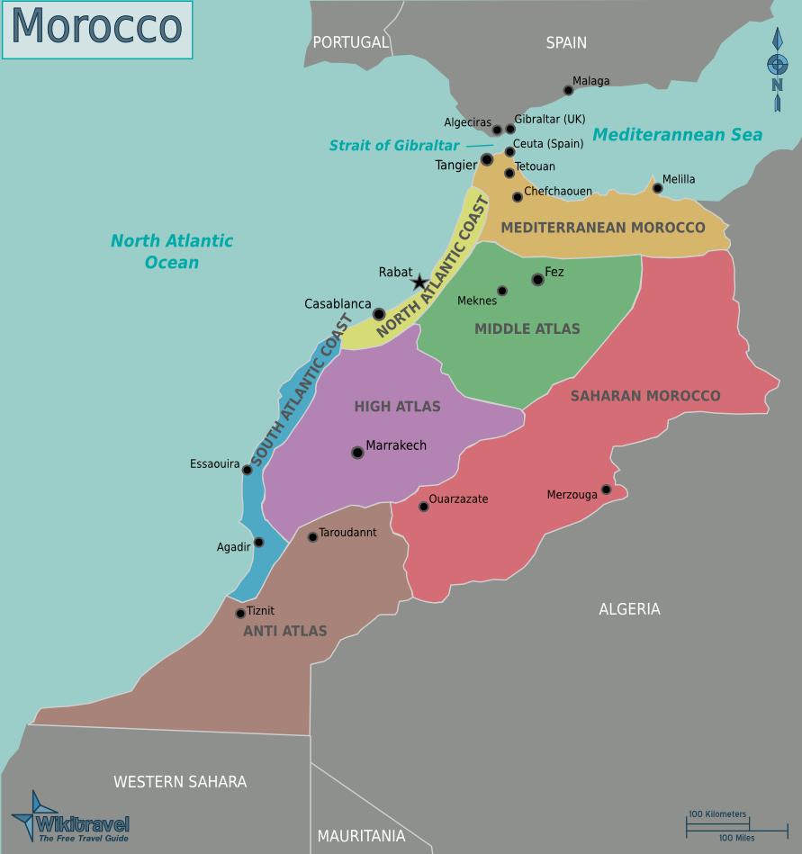 marokko landkarte Landkarte Marokko (Übersichtskarte/Regionen) : Weltkarte. marokko landkarte