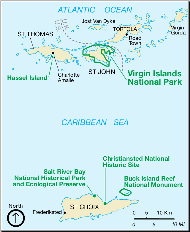 Karte von spanischen Virgin Islands