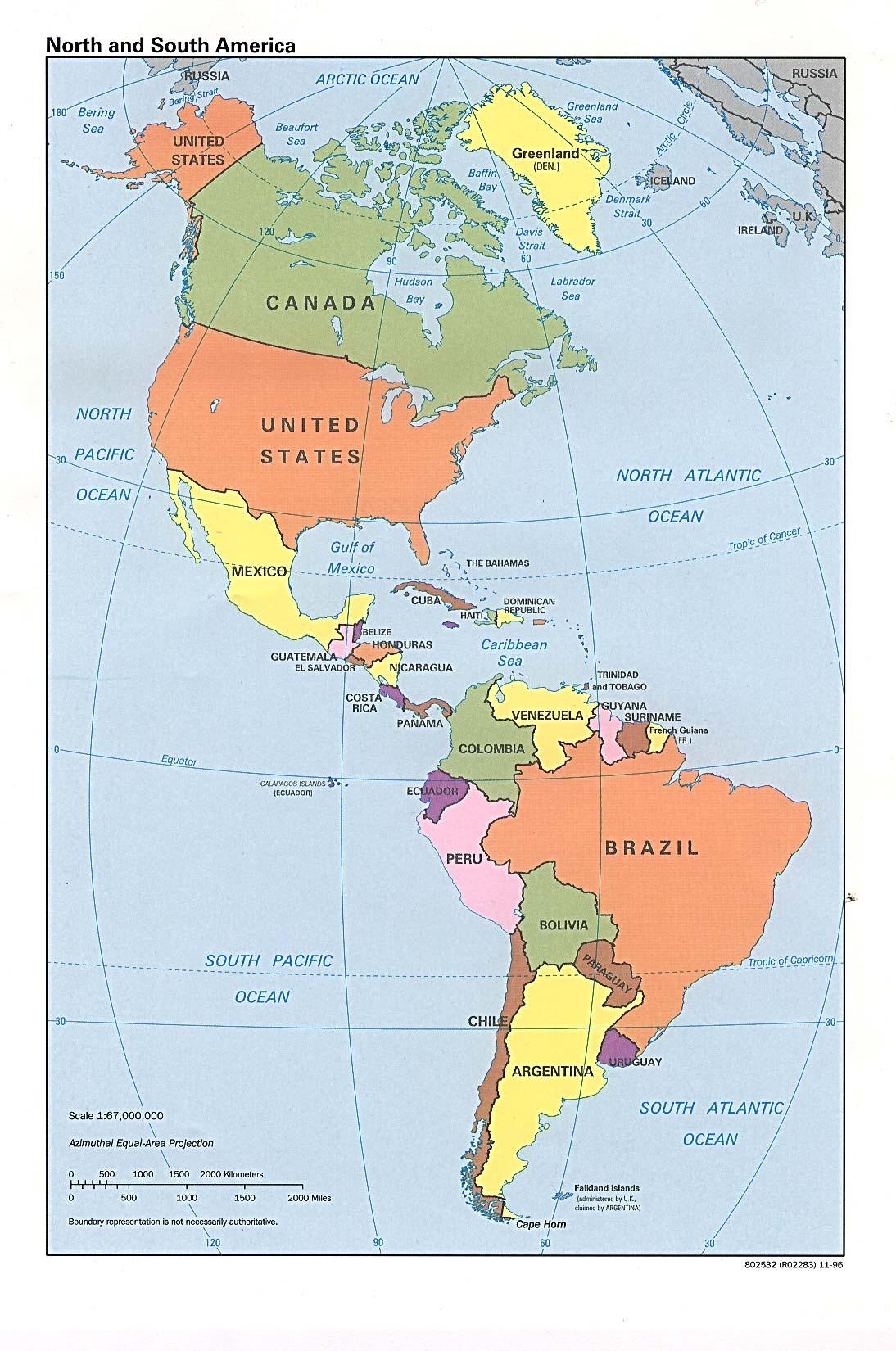 Landkarte Von Nord Und Sudamerika Politische Karte Weltkarte