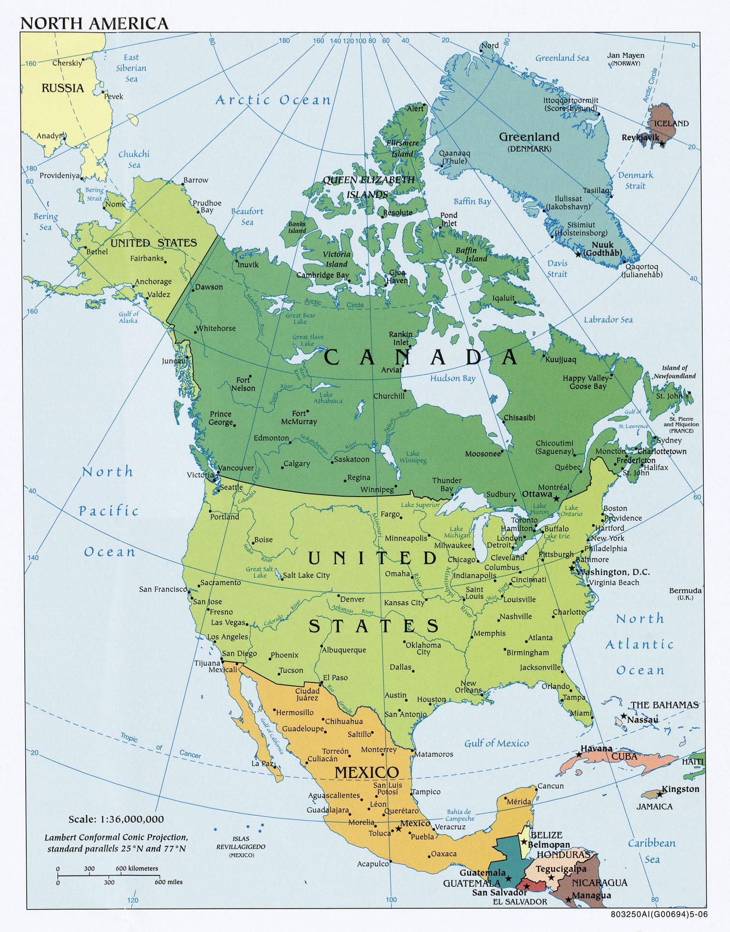 karte nordamerika Landkarte von Nordamerika (Politische Karte) : Weltkarte. karte nordamerika