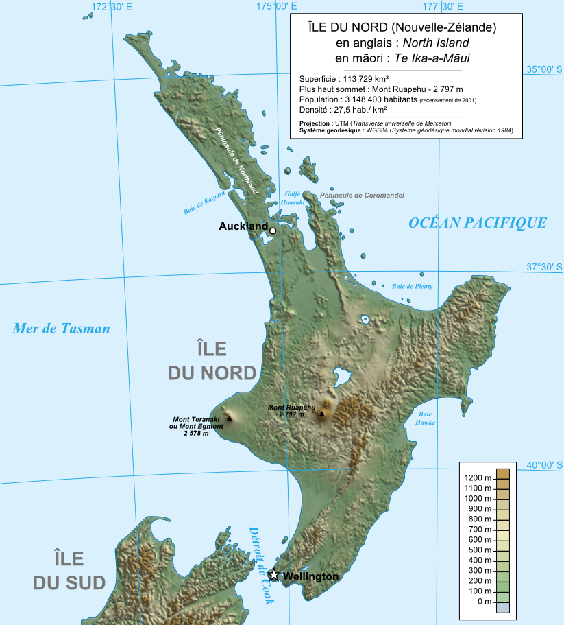 Neuseeland Nordinsel Karte.Karte Neuseeland Topographische Karte Nordinsel Weltkarte Com
