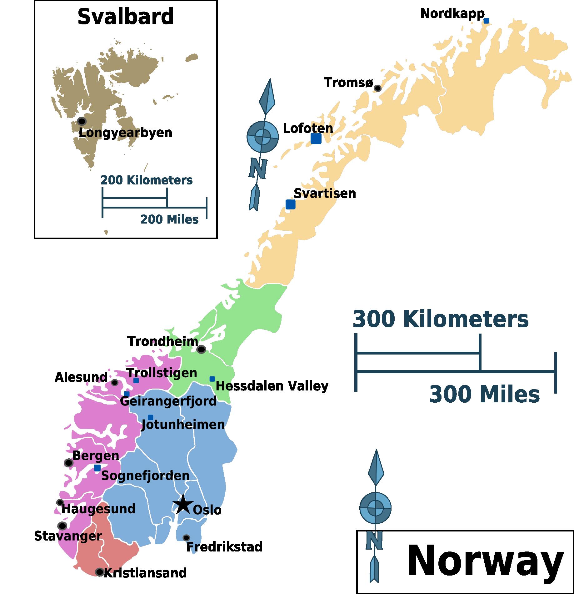norwegen karte regionen Landkarte Norwegen (Karte Regionen) : Weltkarte.  Karten und  norwegen karte regionen