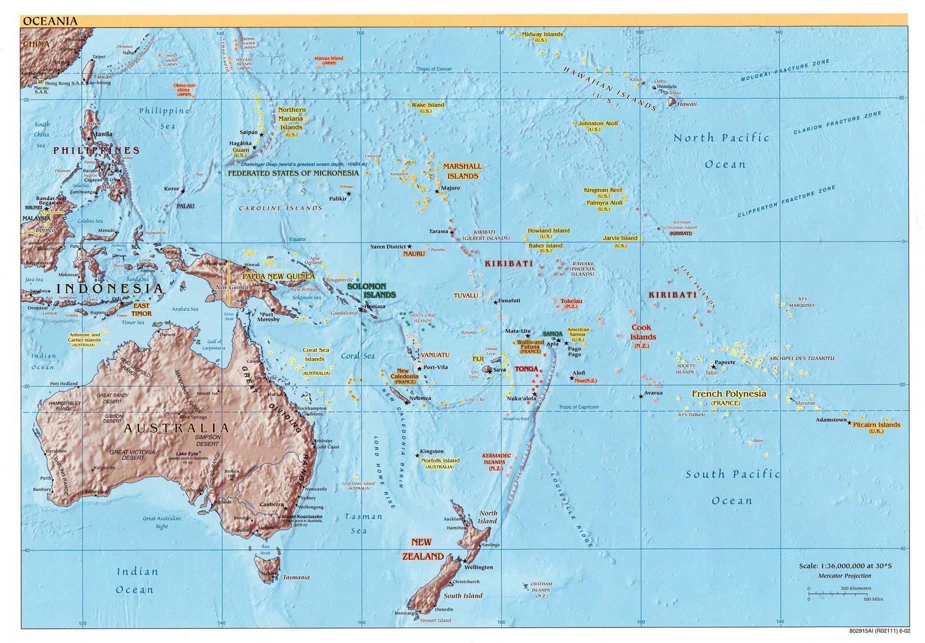pazifik karte Karte Ozeanien / Pazifik : Weltkarte.  Karten und Stadtpläne