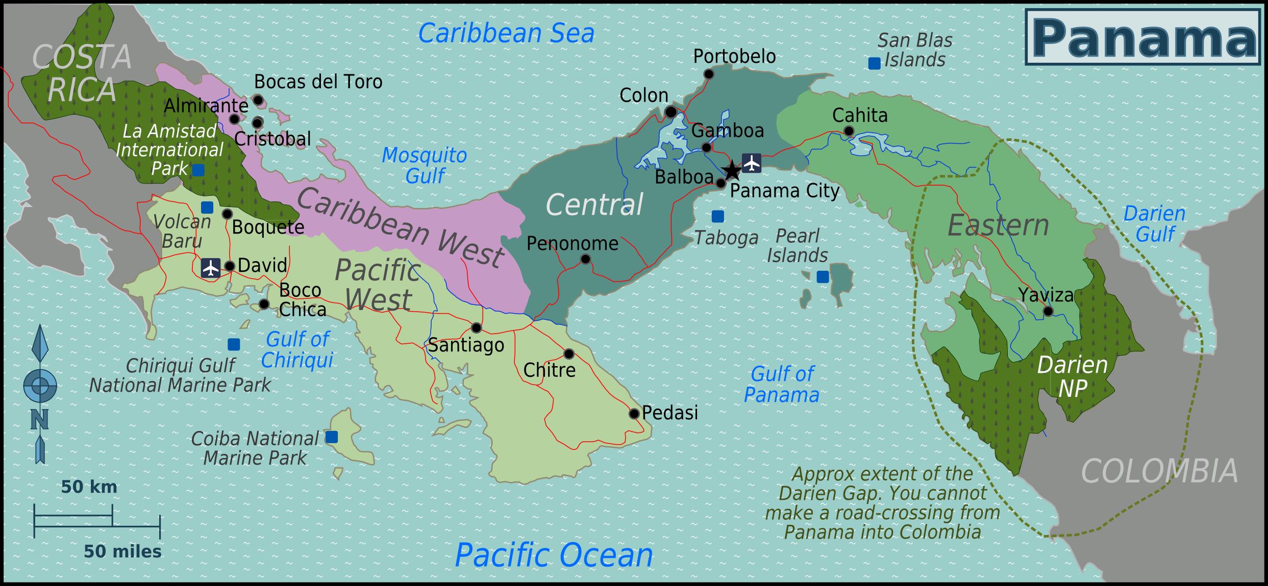 panama weltkarte Landkarte Panama (Übersichtskarte/Regionen) : Weltkarte. panama weltkarte