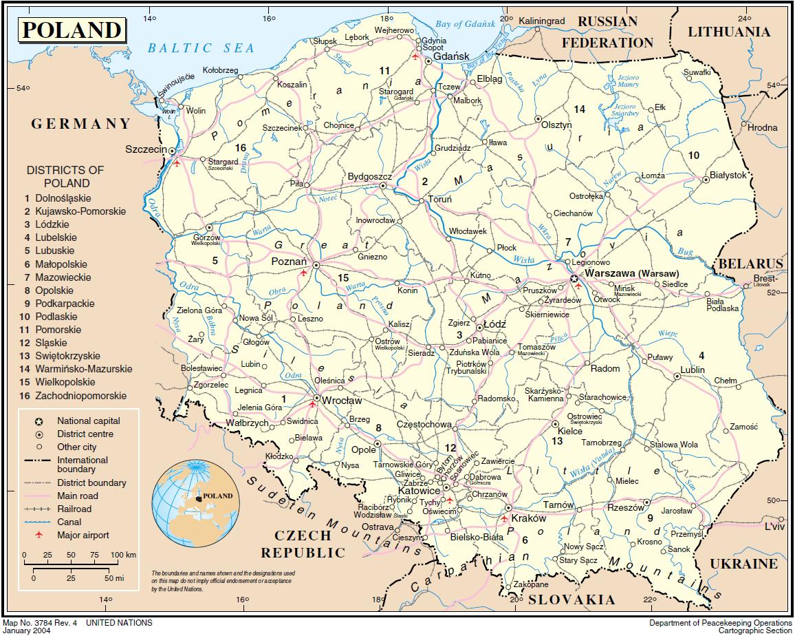 landkarte von polen Landkarte Polen (Übersichtskarte) : Weltkarte.  Karten und  landkarte von polen