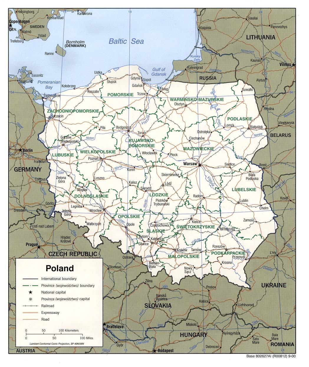 Landkarte Polen Politische Karte Weltkarte Com Karten Und