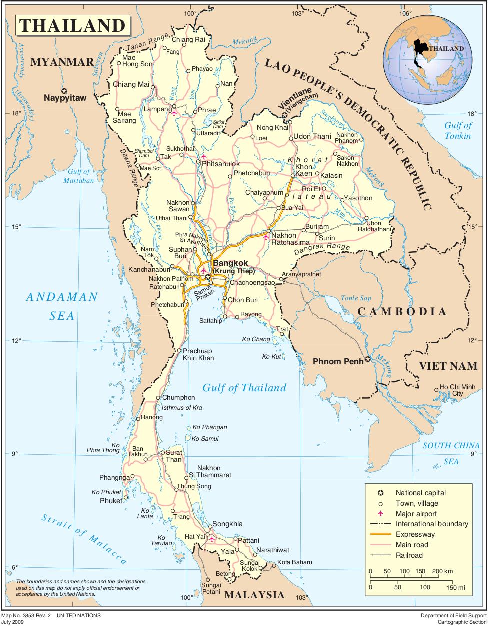 Thailand Karte.Landkarte Thailand Politische Karte Weltkarte Com Karten Und