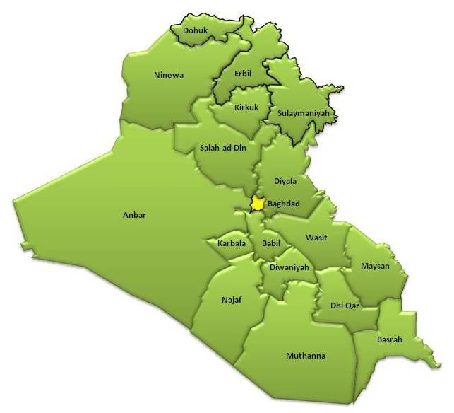 landkarte irak karte provinzen karten und stadtpl ne der welt. Black Bedroom Furniture Sets. Home Design Ideas