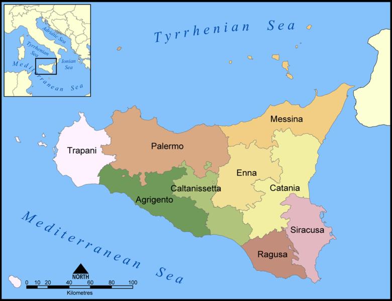 Landkarte Sizilien Karte Provinzen Weltkarte Com Karten Und