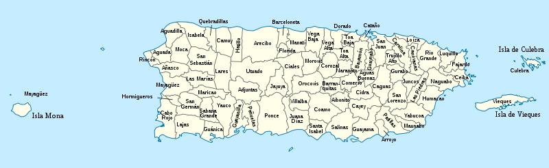 Landkarte von Puerto Rico Verwaltungsbezirke  Weltkartecom